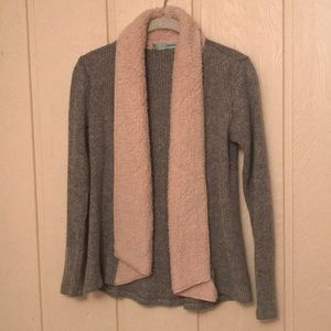 Open Front Ribbed Fur Collar Cardigan